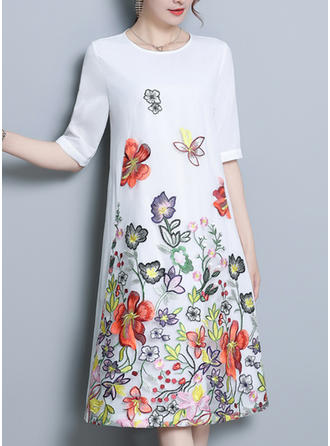 Embroidery Round Neck Knee Length Shift Dress