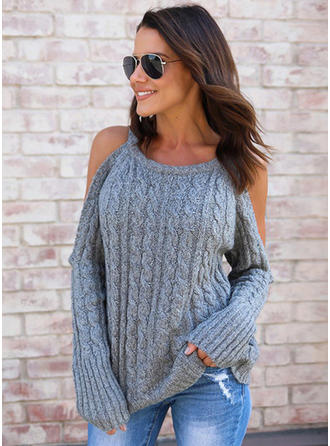 Cotton Blends Round Neck Plain Sweater
