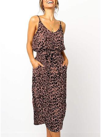 Leopard Sleeveless Sheath Sexy/Casual/Vacation Midi Dresses