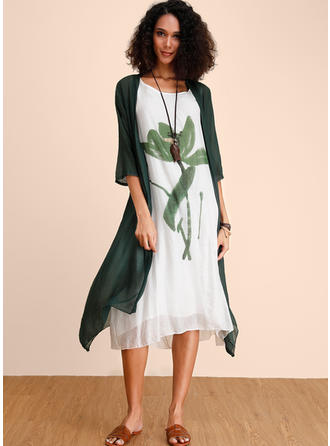 Print 3/4 Sleeves Shift Midi Casual Dresses