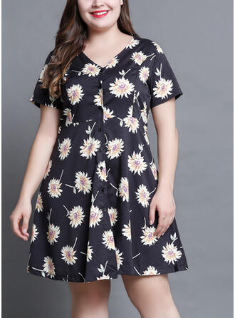 Print/Floral Short Sleeves A-line Above Knee Vacation/Plus Size Dresses