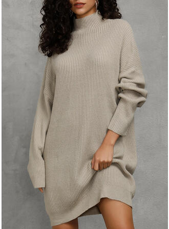 Solid Chunky strik Turtleneck Casual Lang Sweaterkjole