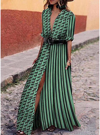 Print/PolkaDot/Striped 1/2 Sleeves A-line Casual/Vacation Maxi Dresses