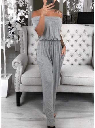 Solide Off-the-shoulder Korte Mouwen Casual Jumpsuit