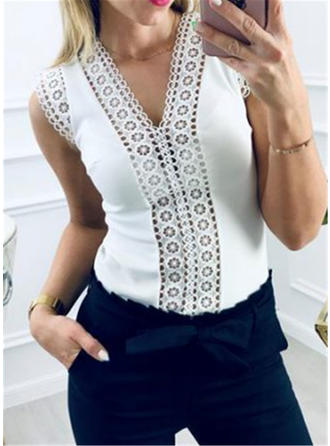 Solid Patchwork Lace V-Neck Sleeveless Casual Knit Tank Tops