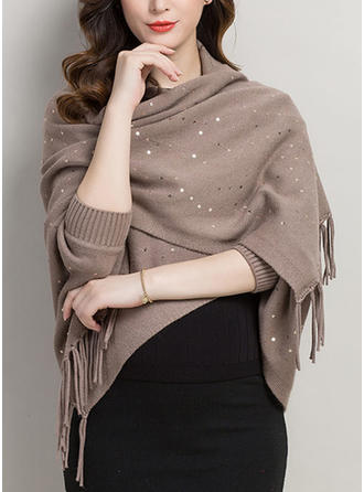 Color sólido Cuello/de gran tamaño/Clima frío Envolturas