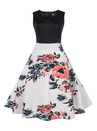 Print Sleeveless A-line Knee Length Vintage/Casual Dresses