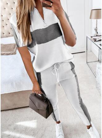 Plaid Casual Plus Size Blouse & Two-Piece Outfits Set