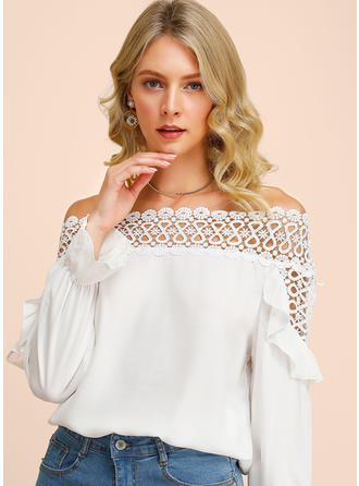 Solid Blonder Off-shoulder Lange ærmer Casual Bluser