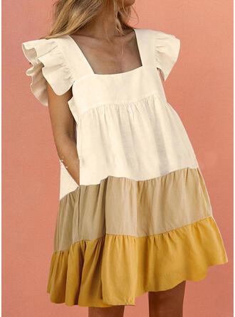 Color Block Cap Sleeve Shift Above Knee Casual Dresses