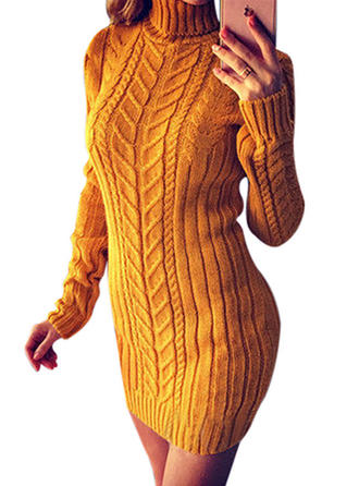 Striped Long Sleeves Bodycon Above Knee Sweater/Casual Dresses