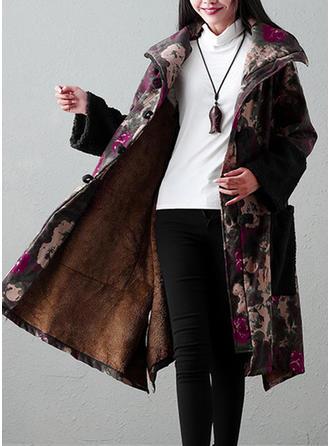 Mieszanki bawełniane Długie rękawy Wydrukować Kwiatowy Wełna Płaszcze