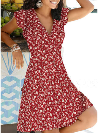Print/Floral Cap Sleeve A-line Knee Length Casual/Vacation Skater Dresses