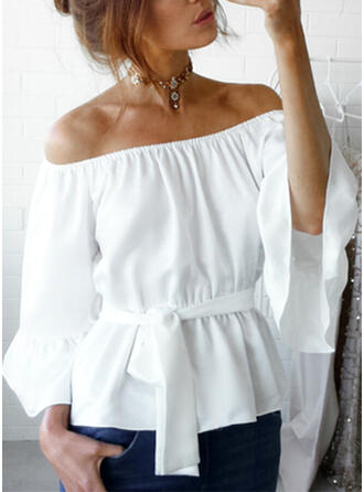 Solid Off the Shoulder Flare Sleeve 3/4 Sleeves Casual Blouses