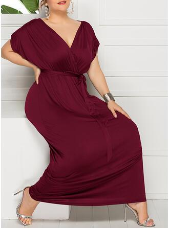 Solid Short Sleeves Sheath Vintage/Little Black/Plus Size Maxi Dresses