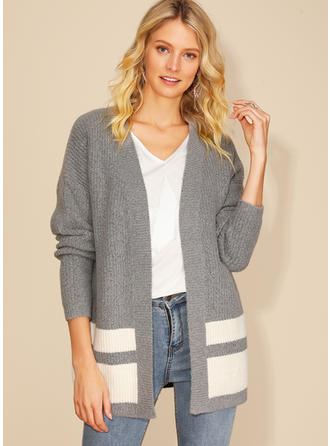 Acrylic Long Sleeves Color Block Cardigans