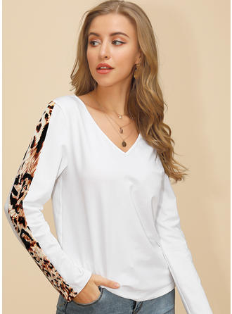 Solid Animal Print V-neck Long Sleeves Casual Knit Blouses