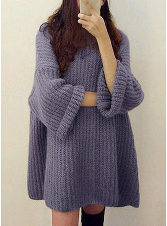 Acrylique Col rond Couleur unie Pulls Côtelés gros tricot Robe Pull