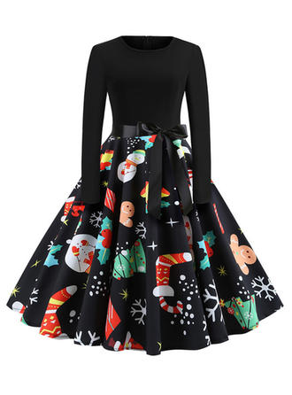 Print Christmas Round Neck Knee Length A-line Dress