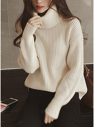 Plain Chunky knit Turtleneck Sweaters