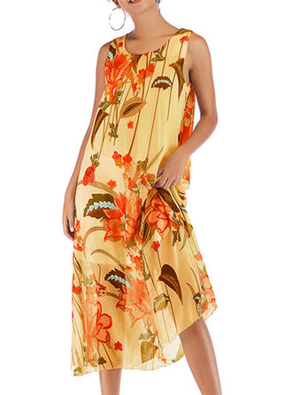 Print/Floral Sleeveless Shift Casual/Vacation Midi Dresses