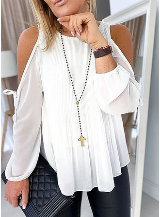 Solid Cold Shoulder Long Sleeves Casual Ruffle Blouses