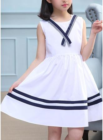 Girls Round Neck Striped Casual Cute Dress