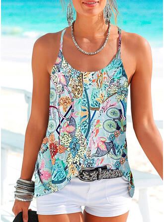 Print Floral Spaghetti Strap Sleeveless Casual Blouses