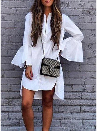 Solid Flare Sleeves Shift Above Knee Casual Dresses