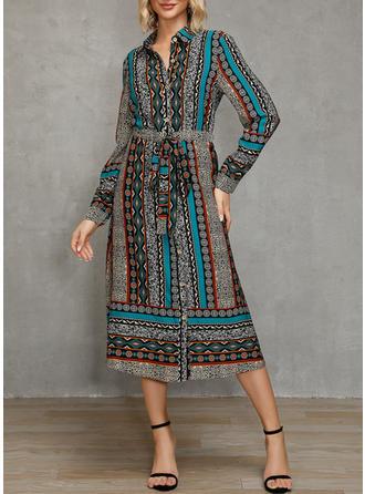 Nadrukowana/Patchwork Długie rękawy W kształcie litery A Midi Casual/Elegancki Sukienki