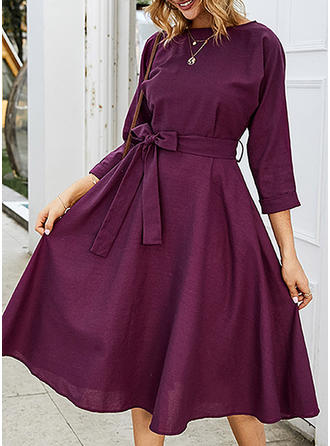 Solid 3/4 Sleeves A-line Midi Casual/Elegant Dresses