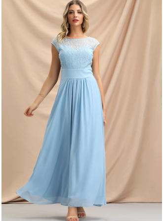 Lace/Solid Sleeveless Sheath Maxi Party Dresses
