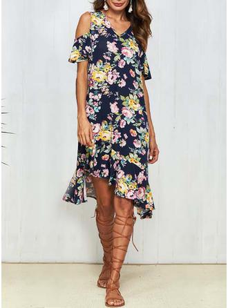Print Floral V-neck Asymmetrical Sheath Dress