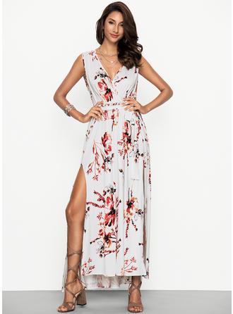 Bohemian Floral V-neck Maxi Shift Dress
