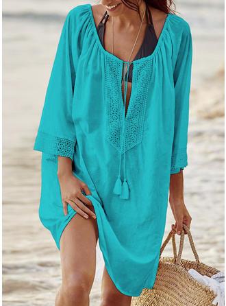 Solid Color Drawstring U-Neck Elegant Cover-ups Swimsuits