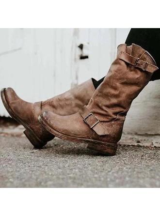Kvinder PU Stor Hæl Støvler med Spænde sko