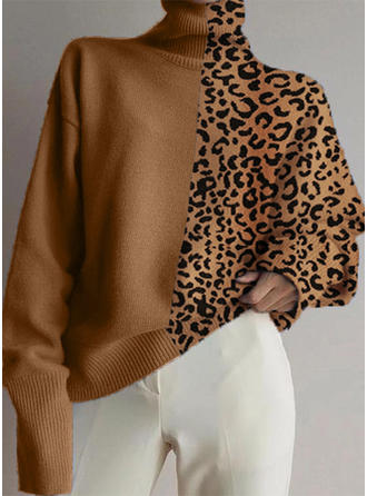 Animal Print Stand Collar Sweaters