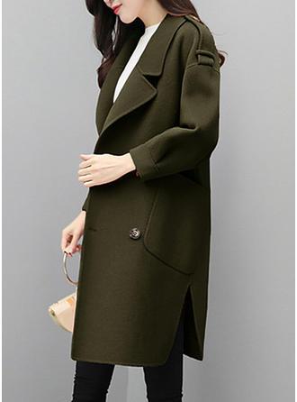 De laine Polyester manches 3/4 Couleur unie Manteaux de Laine