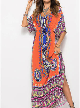 Print 1/2 Sleeves Sheath Casual/Boho/Vacation Maxi Dresses