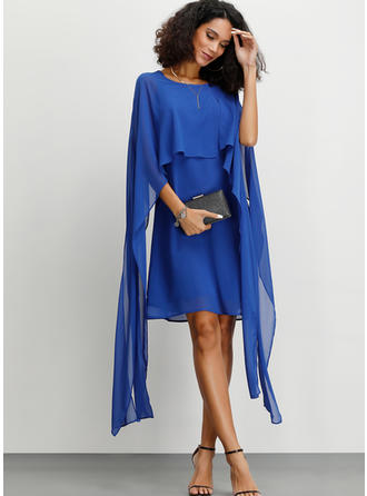 Solid Split Sleeve A-line Above Knee Party/Elegant Dresses