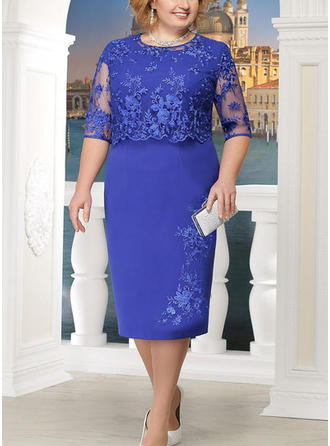 Lace Round Neck Knee Length Sheath Dress