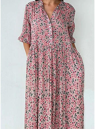 Print/Floral 1/2 Sleeves Shift Casual/Vacation Midi Dresses