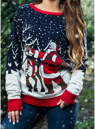 Frauen Polyester Weihnachtsmann Rentier Hässlicher Weihnachtsstrickjacke