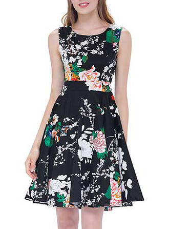 Print/Floral Sleeveless A-line Above Knee Vintage/Elegant Dresses