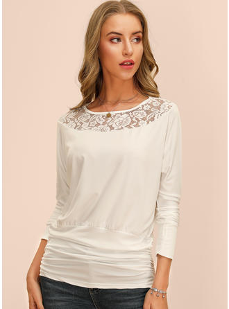 Solid Floral Lace Round Neck 3/4 Sleeves Casual Blouses