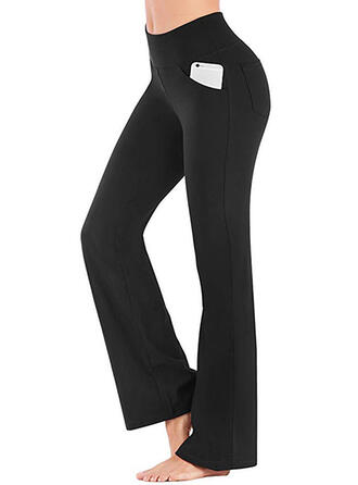 Shirred Lang Casual Elegant Sexy Broodmager Solide Leggings
