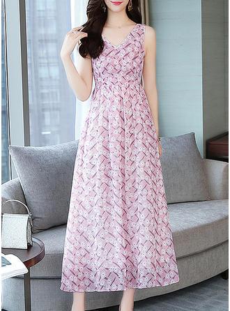 Nadrukowana/Kwiatowy Bez rękawów W kształcie litery A Maxi Casual Sukienki