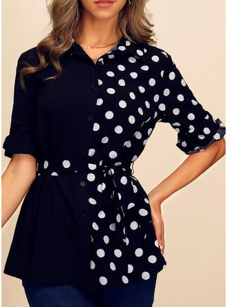 Patchwork PolkaDot Lapel 1/2 Sleeves Button Up Casual Elegant Shirt Blouses T-shirts