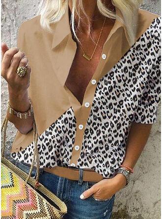 Leopardo Solapa Manga Larga Casual Blusas