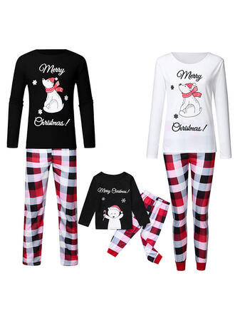 Bear Plaid Print Family Matching Christmas Pajamas
